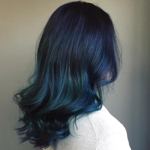 أجمل صبغات شعر ازرق غامق بالصور